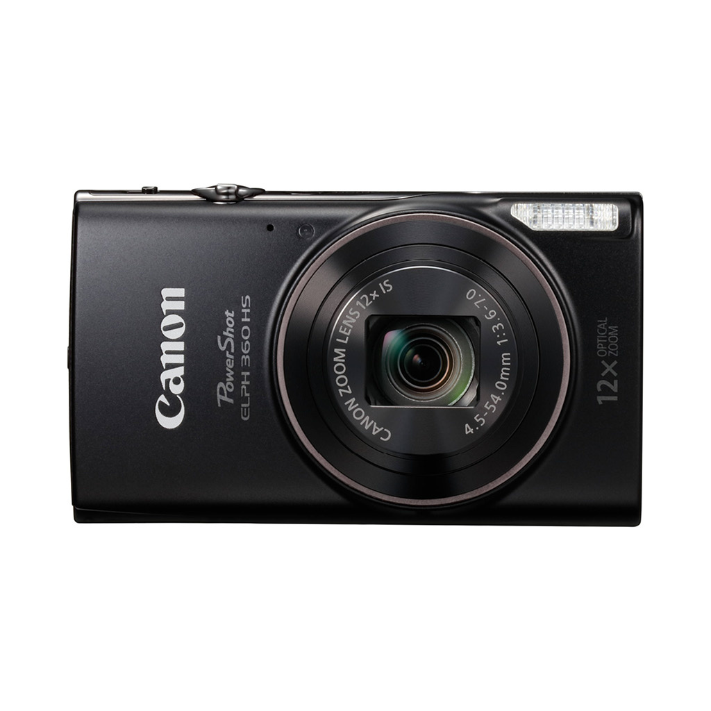 Canon Powershot ELPH 360 HS 20.2MP 12x Optical Zoom Digital Camera - Black