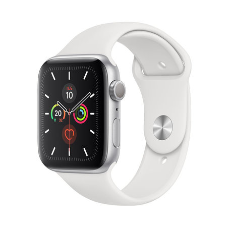 Apple Watch Series 5 44mm GPS Silver with White Sport Band