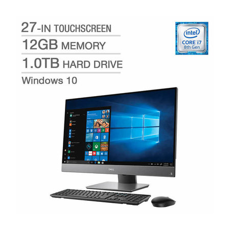 Dell Inspiron 27 7777 All-in-One Desktop / Intel Core i7-8700T / 27-in Touch Screen / 12GB Memory / 1.0TB HD / Intel UHD Graphics 630 / Windows 10 Home / 3-in-1 Card Reader / Wireless Keyboard and Mouse