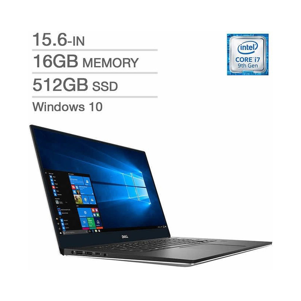 Dell XPS 15 XPS7590-7992SLV-PUS / Intel Core i7-9750 / 16GB Memory / 512GB SSD / 15.6-in UHD Display / NVidia GeForce GTX Graphics 1650 (4GB) / Windows 10 / 6-cell / Silver