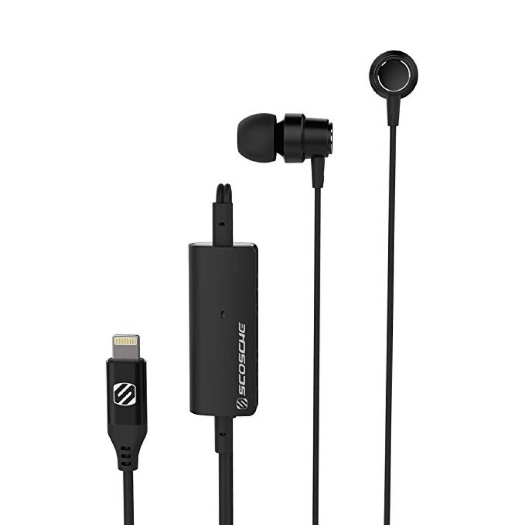 Scosche Noise Isolation Earbuds with Lightning Connector - Black