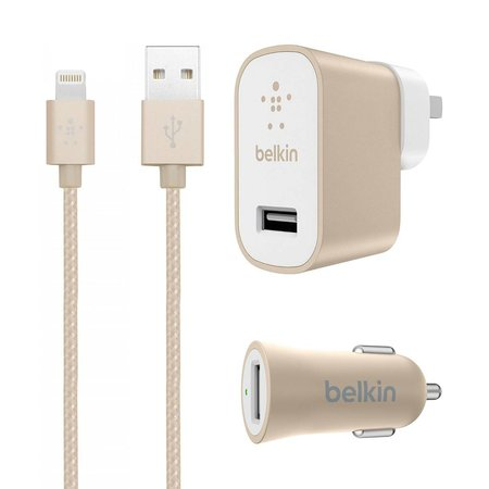 Belkin MIXIT↑ Charger Kit for iPhone & iPad - Wall / Car Charger & Lightning Cable - Gold