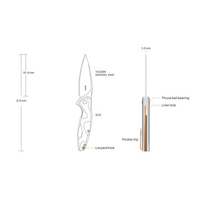 Ruike Ruike P105-Q Folding Knife (Blue Black Wave)