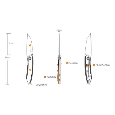 Ruike Ruike P831-SF Folding Knife (Silver)