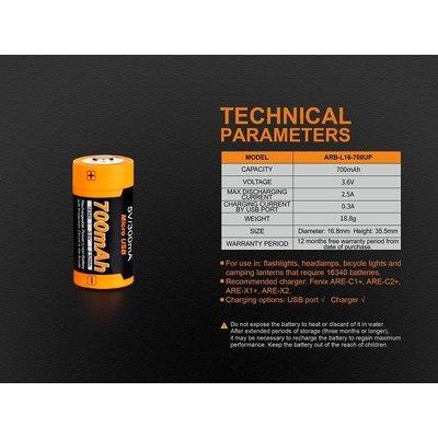 Fenix Fenix 16340 700 mAh USB Rechargeable Battery (ARB-L16-700UB)