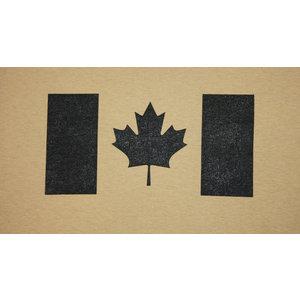 Poco Miltary Black Canada Flag on Tan T-Shirt