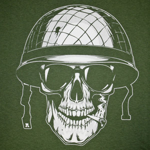 Poco Military Army Smoking Skull T-Shirt (Olive Drab)