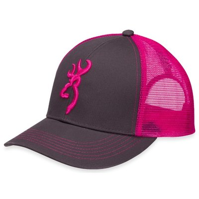 Browning Browning Logo Baseball Cap - Charcoal / Neon Pink (Mesh Back)