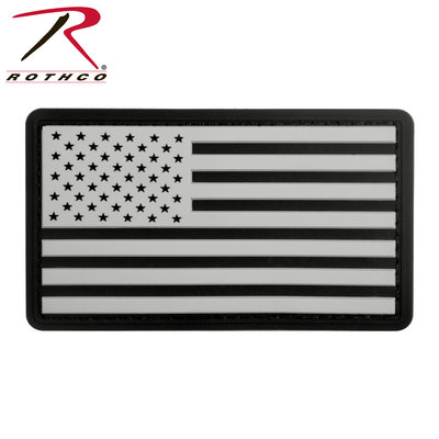 Rothco USA Flag Patch (PVC, Velcro) Black & White