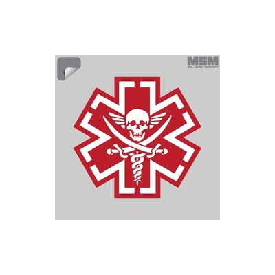 Milspec Monkey TacMed Pirate Decal (Red)