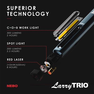 Nebo Nebo Larry Trio 3 in 1 Rechargeable Pen Light (300 Lumens)