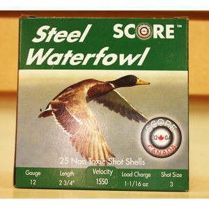 "Score Score Steel Waterfowl 12 Gauge - 2 3/4"" #3 Shot (1550 FPS / 1-16 oz)"