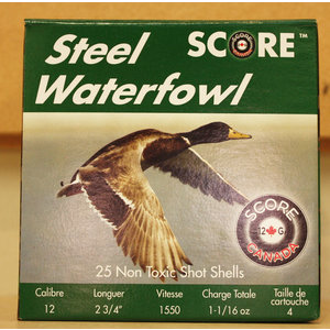 "Score Score Steel Waterfowl 12 Gauge - 2 3/4"" #4 Shot (1550 FPS / 1-16 oz)"