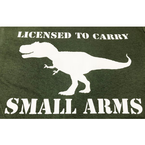 Poco Military Licensed to Carry Small Arms T-Shirt (White On OD)