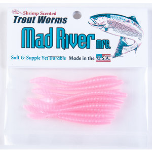 "Mad River Mad River Trout Worms (Pink Pearl, 4"") 9 PACK"