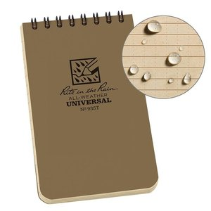 "Rite In The Rain Rite In The Rain Notebook (3"" x 5"") Tan / Spiral"