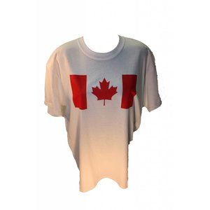 Poco Miltary Red Canada Flag on White T-Shirt