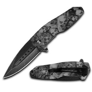 ACM Bone Grey Zombie Spring Assist Knife (ZM017927-GR)