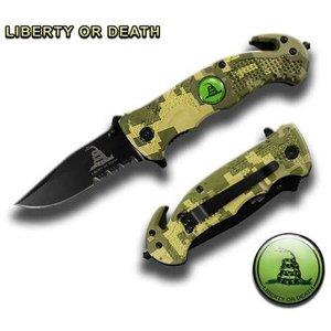 "ACM Green Digital Camo ""Don't Tread On Me"" Half Serrated Safety Knife (TY0210CLOD)"