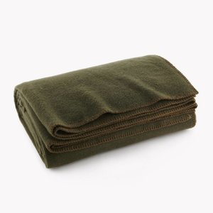 "World Famous Olive Drab Wool Blanket 66"" x 90"" - 70% Wool"
