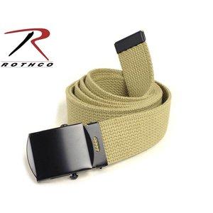 "Rothco Rotcho Khaki Military Web Belt 54"" (w/ Black Metal Buckle)"