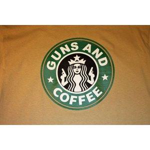 Poco Miltary Guns & Coffee on Tan T-Shirt