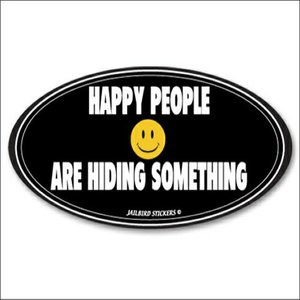 Jailbird Happy People Are Hiding (Oval Sticker)