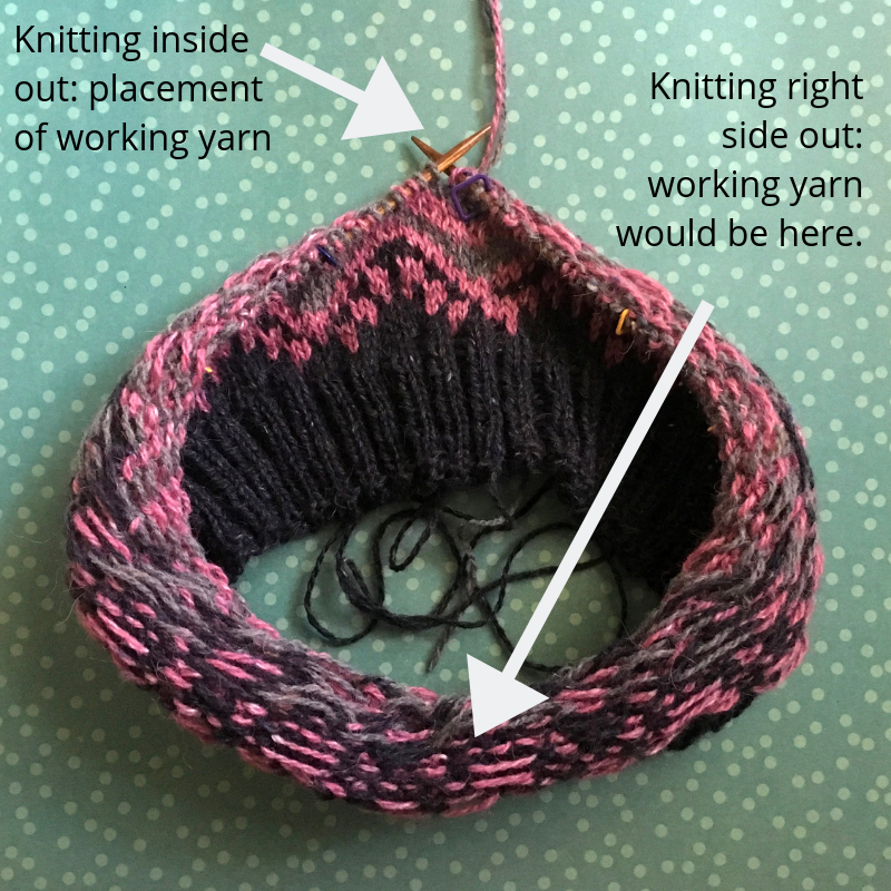 knitting colorwork inside out yarn placement