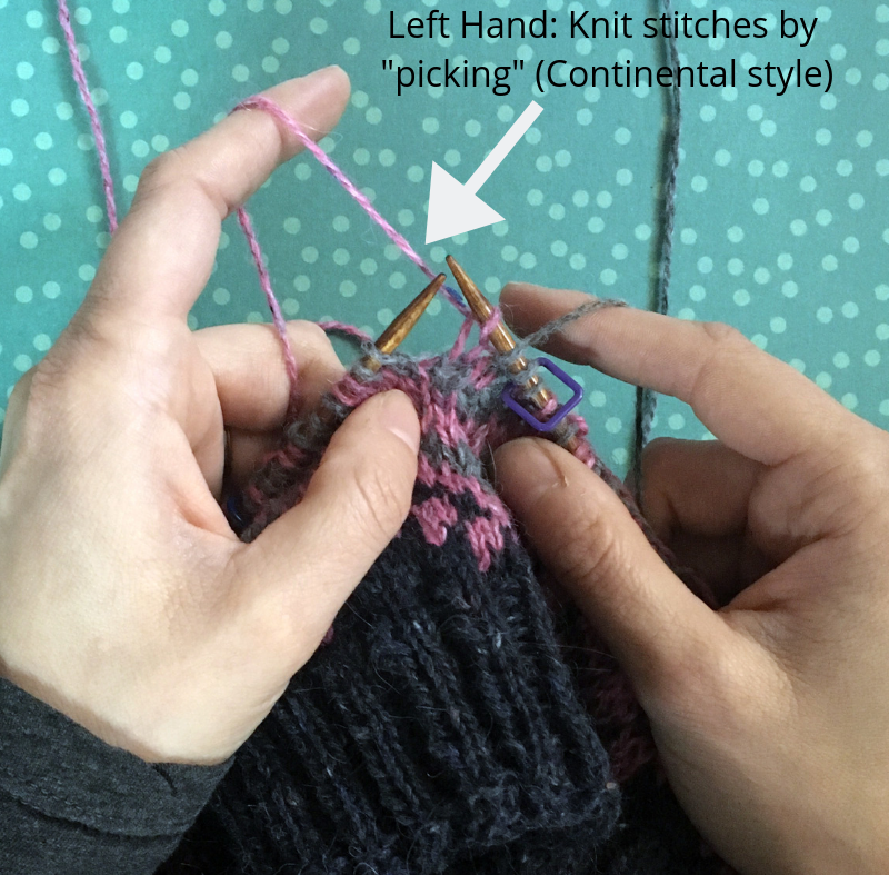 knitting with yarn in left hand - picking/continental style of knitting