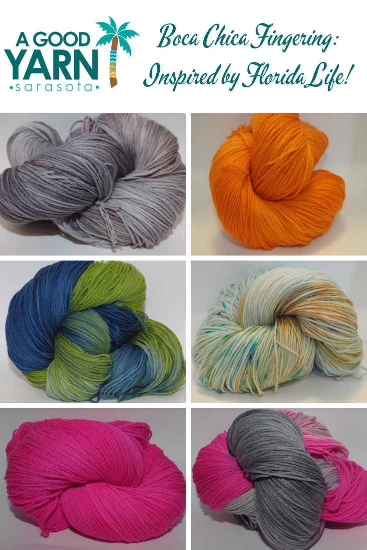 Boca Chica fingering weight yarn, hand dyed in colors inspired by Florida life and only at A Good Yarn Sarasota