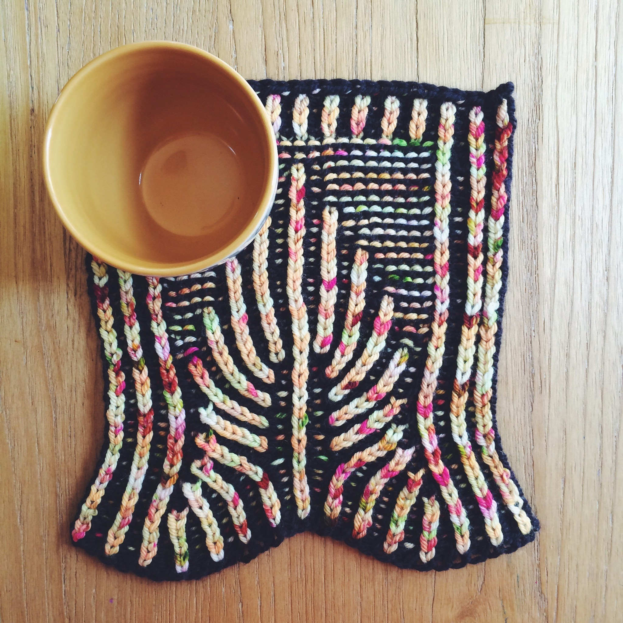 deco mug mat brioche knitting pattern