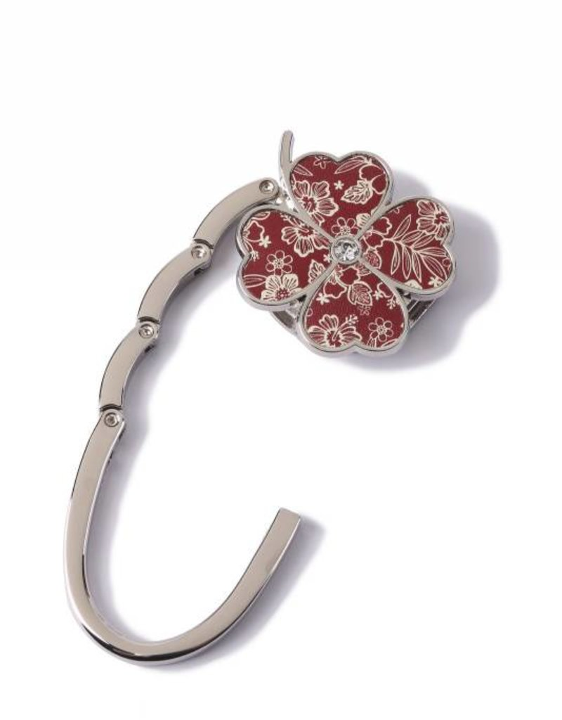 Purse Hook Clover Hibiscus Blossom Red