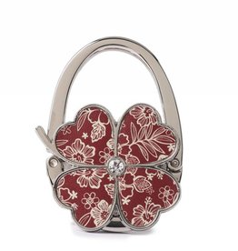 Happy Wahine Purse Hook Clover Hibiscus Blossom Red