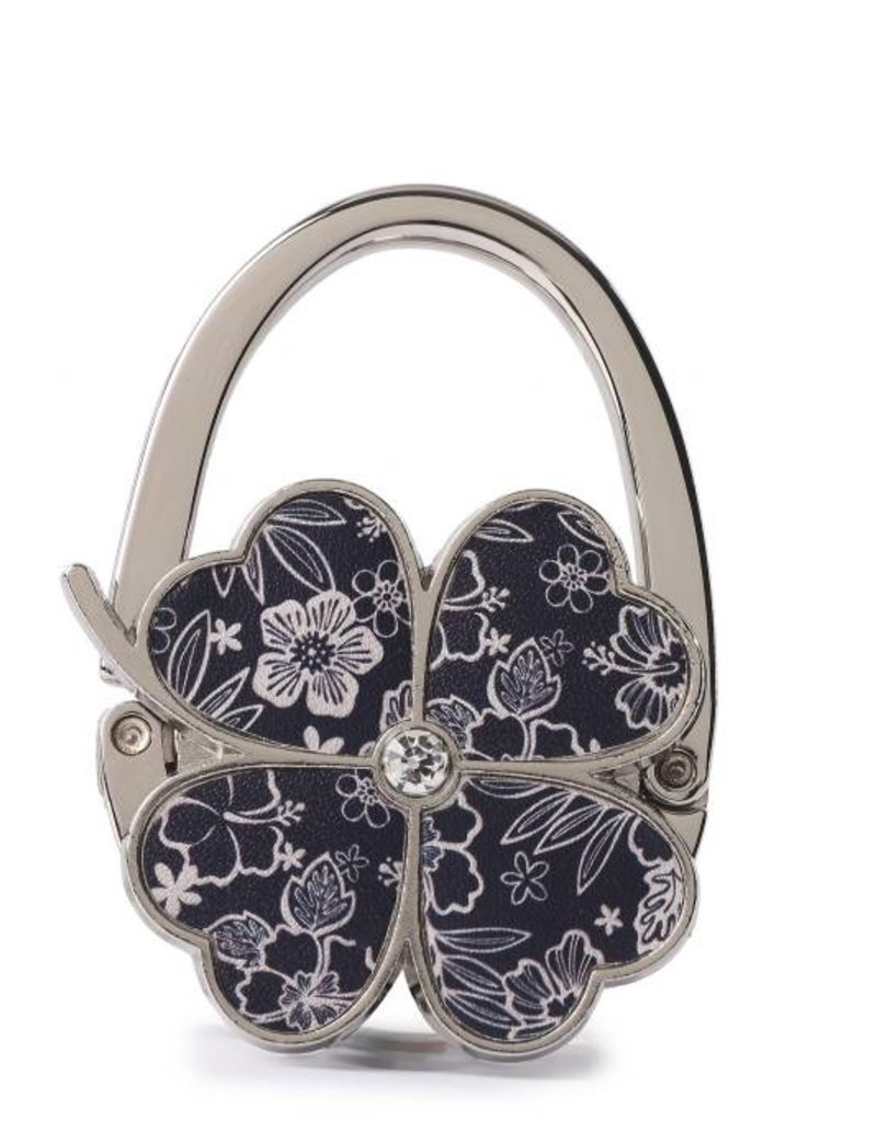 Purse Hook Clover Hibiscus Blossom Blue