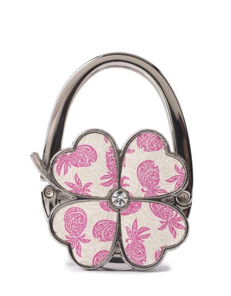 Happy Wahine Purse Hook Clover Tapa Pineapple Pink