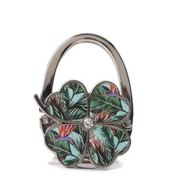 Happy Wahine Purse Hook Clover Bird of Paradise Blue