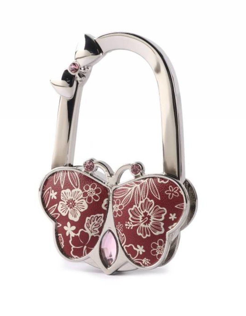 Happy Wahine Purse Hook Butterfly Hibiscus Blossom Red