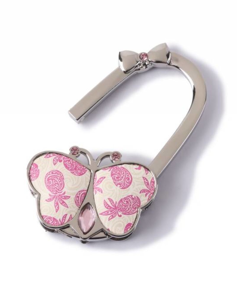 Happy Wahine Purse Hook Butterfly Tapa Pineapple Pink