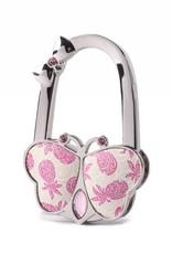 Purse Hook Butterfly Tapa Pineapple Pink