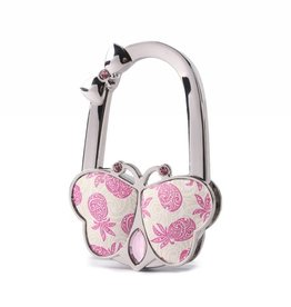 Purse Hook Butterfly Tapa Pineapple Pink