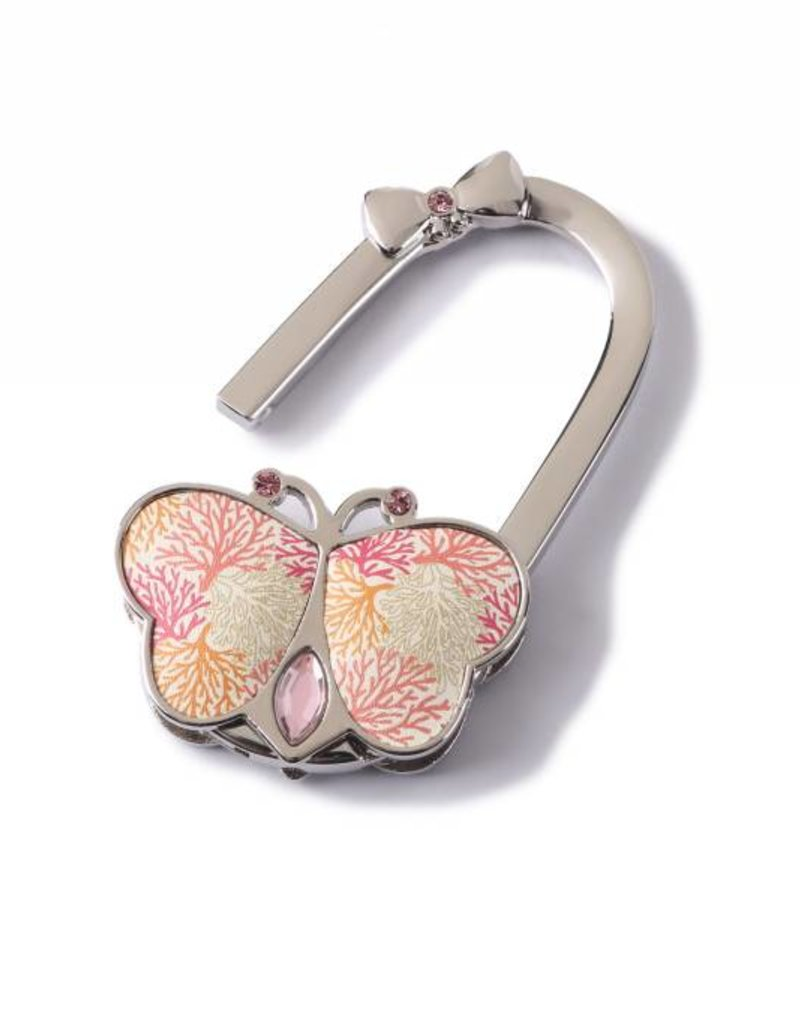 Purse Hook Butterfly Coral Beige