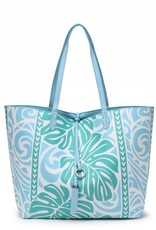 Rev Tote Nancy Monstera Blue Large