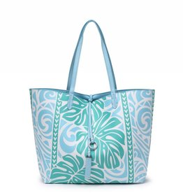 Happy Wahine Rev Tote Nancy Monstera Blue Large