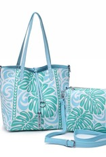 Rev Tote Nancy Monstera Blue Small