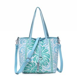 Happy Wahine Rev Tote Nancy Monstera Blue Small
