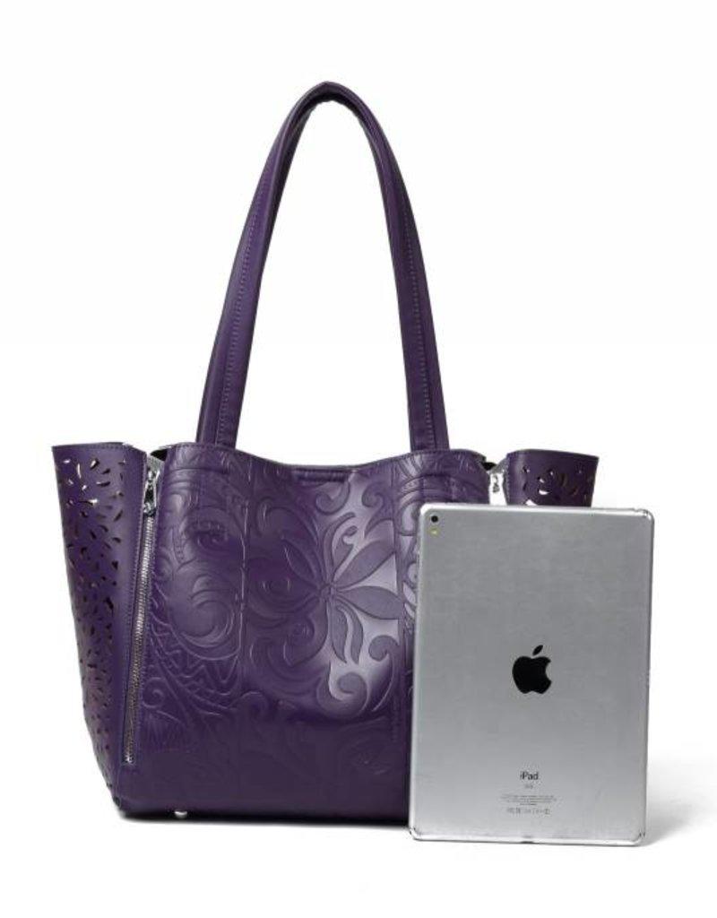Handbag Amy Tapa Tiare Purple Embossed Large