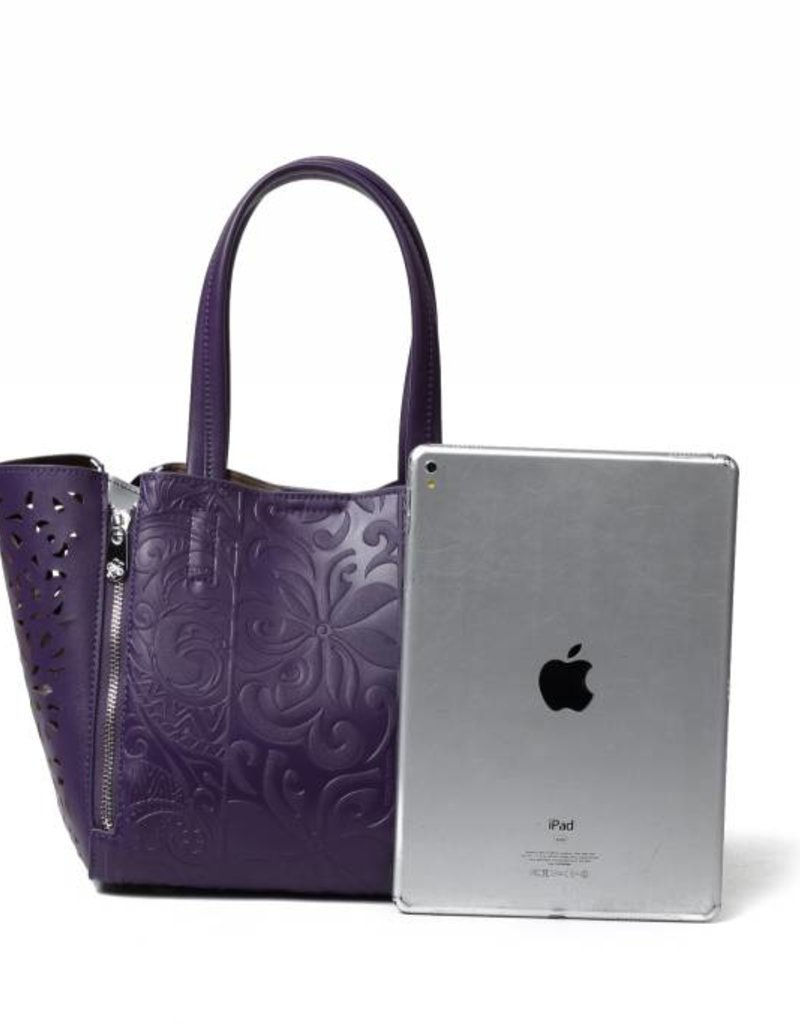 Happy Wahine Handbag Amy Tapa Tiare Purple Embossed Small