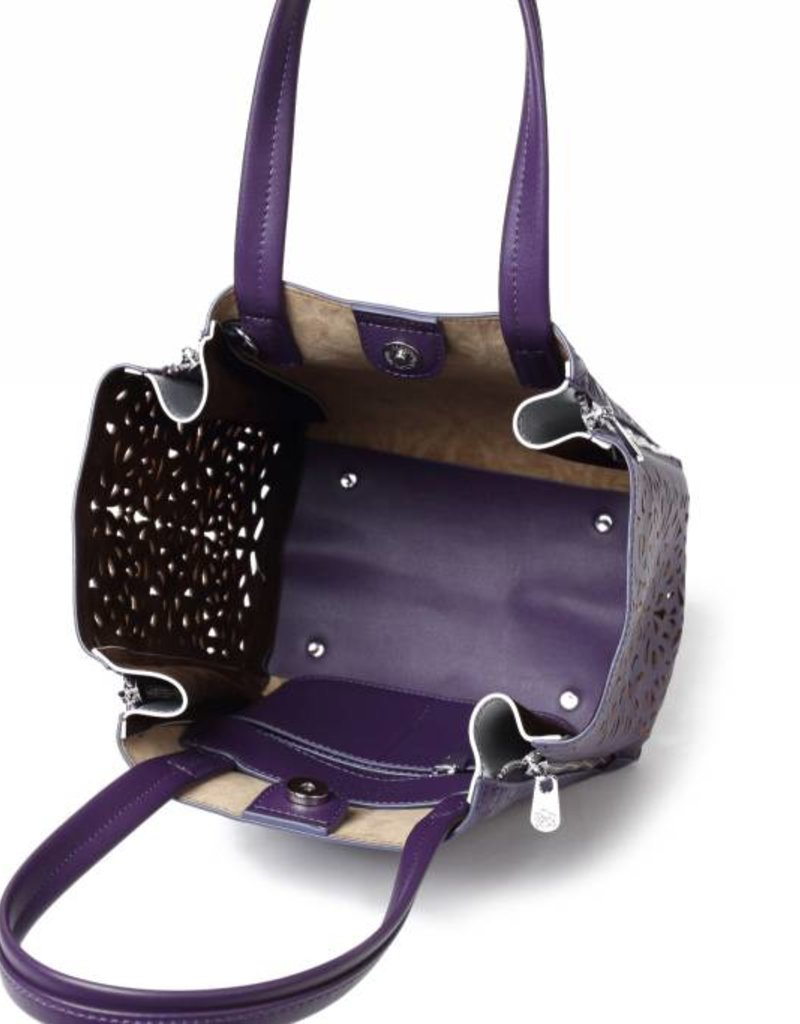 Handbag Amy Tapa Tiare Purple Embossed Small