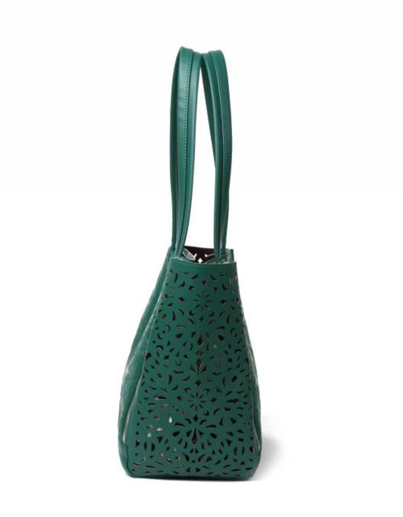 Happy Wahine Handbag Amy Tapa Tiare Warrior Green Embossed Large