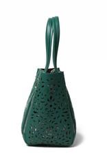 Happy Wahine Handbag Amy Tapa Tiare Warrior Green Embossed Small